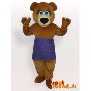 Brown bear mascot with purple apron - Pooh Costume