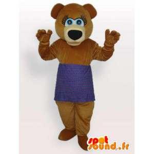 Mascotte bruine beer met paarse schort - teddybeer kostuum