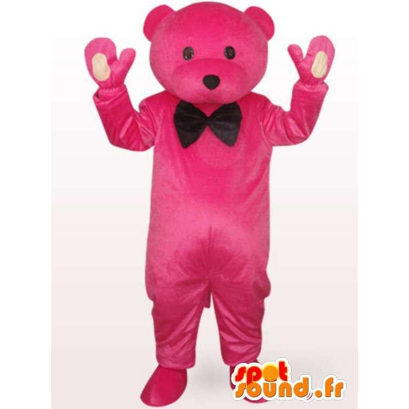 Mascotte medvěd v růžovém obleku plněná černým motýlkem - MASFR00704 - Bear Mascot