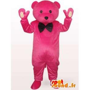 Mascot orso di peluche rosa con papillon nero tuxedo - MASFR00704 - Mascotte orso