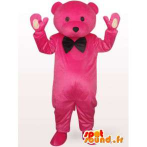 Mascotte αρκούδα σε ροζ σμόκιν γεμιστό με μαύρο παπιγιόν - MASFR00704 - Αρκούδα μασκότ