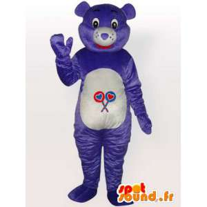 Mascotte ours violet simple - Personnalisable - Costume adulte