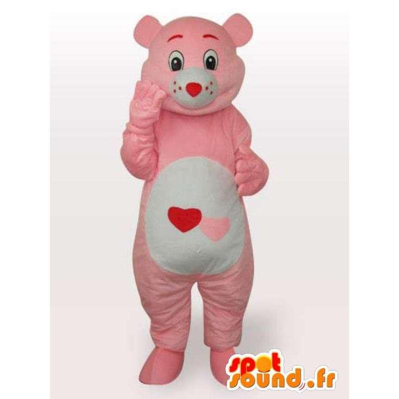 Μασκότ βελούδου ροζ αρκούδα με την καρδιά και το χαριτωμένο στυλ για τα βράδια - MASFR00688 - Αρκούδα μασκότ