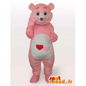 Mascot rosa corazón de la felpa del oso y el estilo lindo para las noches - MASFR00688 - Oso mascota