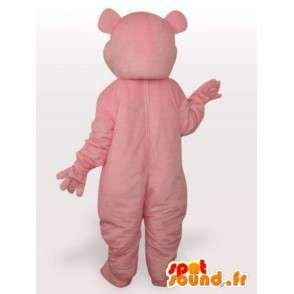 Mascotte d'ours rose à coeur style peluche et mignon pour soirées - MASFR00688 - Mascotte d'ours