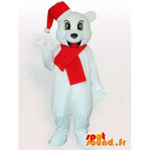 Mascot Polar Bear with Christmas hat and red scarf