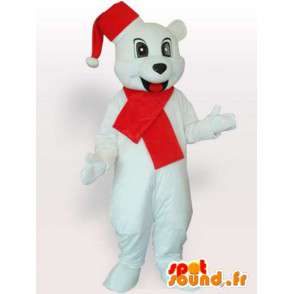 Polar Bear maskot s vánoční klobouk a červeným šátkem - MASFR00705 - Bear Mascot