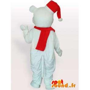 Polar Bear Mascot kanssa tonttulakki ja punainen huivi - MASFR00705 - Bear Mascot