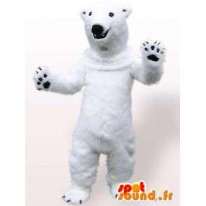 Polar bear mascot white with black claws while plush - MASFR00700 - Bear mascot