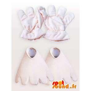 Mascotte enkele bruine aap met beige handschoenen - Klantgericht - MASFR00739 - Monkey Mascottes
