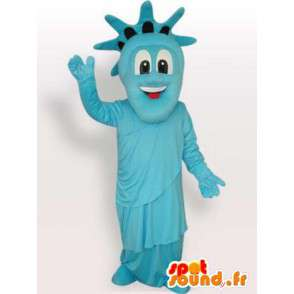 Estátua da mascote do azul Liberdade - noite traje New York - MASFR00293 - objetos mascotes