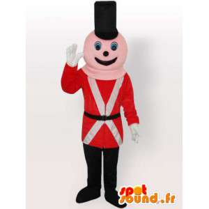 Canadian policeman mascot with red and black accessories