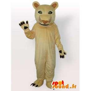 Beige pantteri maskotti. Superb kissan juhla iltaisin - MASFR00683 - Lion Maskotteja