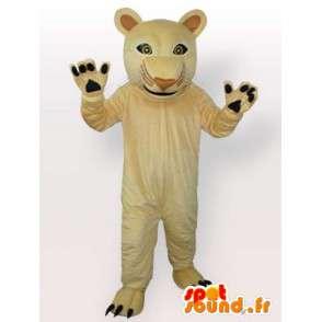 Mascotte de panthère beige. Superbe félin pour soirées festives - MASFR00683 - Mascottes Lion