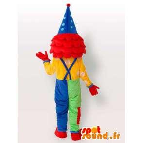 Kabouter mascotte Clown - veelkleurige kostuum met toebehoren - MASFR00196 - mascottes Circus