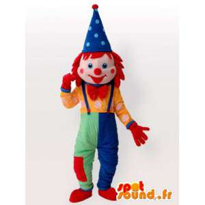 Clown mascot Lutin - multicolor costume with accessories