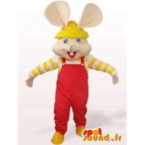 Mascotte de souris - lapin en salopette rouge et manches jaunes