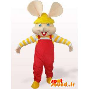Mouse mascot - rabbit in overalls and red yellow sleeves