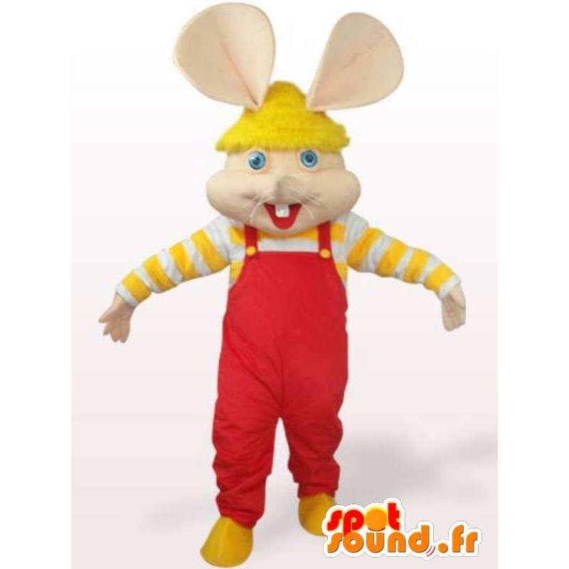 Mascotte de souris - lapin en salopette rouge et manches jaunes - MASFR00756 - Mascotte de lapins