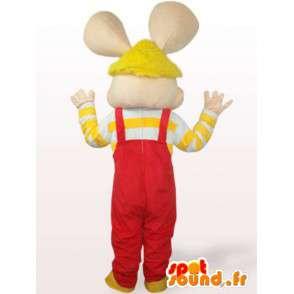 Mouse maskotti - kani punaisella haalarit ja keltainen hihat - MASFR00756 - maskotti kanit