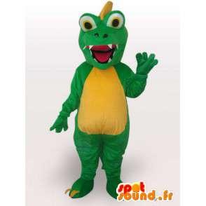Mascot aligator / krokodil dragon stijl - Groen Pet - MASFR00563 - Mascot krokodillen