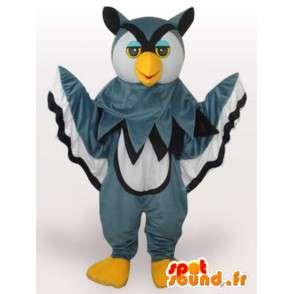 Mascotte majestueuze en kleurrijke grijze uil - Plush Grijs en geel - MASFR00330 - Mascot vogels