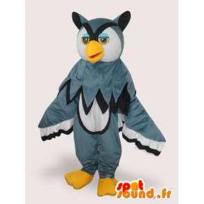 Mascota del búho gris majestuoso y colorido - felpa gris y amarillo - MASFR00330 - Mascota de aves