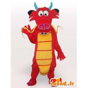 Mascotte de dragon rouge asiatique - Costume dragon chinois