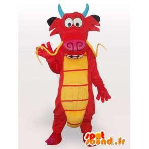 Mascotte de dragon rouge asiatique - Costume dragon chinois - MASFR00556 - Mascotte de dragon