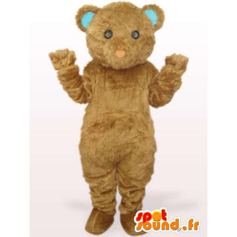 Mascotte ourson beige avec oreilles bleues - Costume spécial fêtes - MASFR00772 - Mascotte d'ours