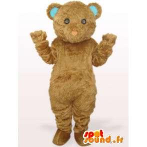 Beige Teddybär-Maskottchen mit blauen Ohren - Sonder Kostüm Parteien - MASFR00772 - Bär Maskottchen