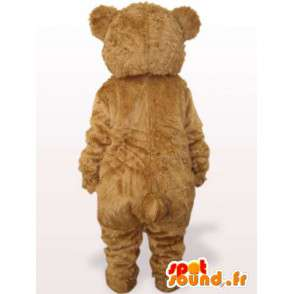 Beige teddy bear mascot with blue ears - Costume Christmas Special - MASFR00772 - Bear mascot