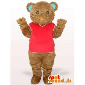 Mascot ursinho com camisa vermelha e fibra de algodão