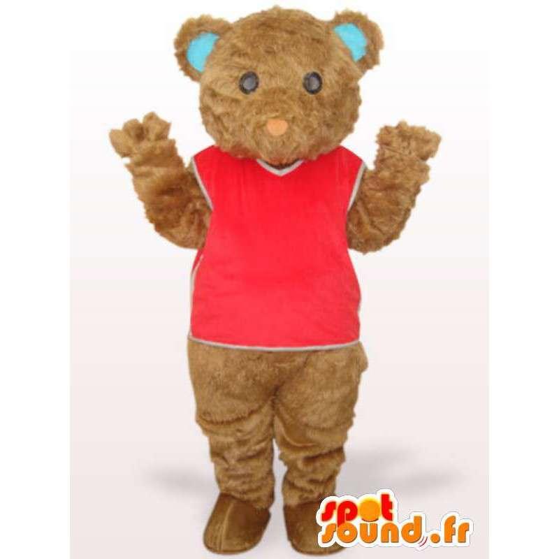 Mascotte ourson en peluche avec t-shirt rouge et fibre de coton - MASFR00755 - Mascotte d'ours