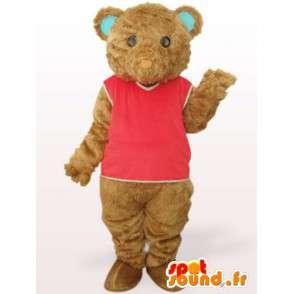 Mascot teddybeer met rode overhemd en katoenvezels - MASFR00755 - Bear Mascot