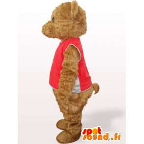 Mascot teddy bear with red t-shirt and cotton fiber - MASFR00755 - Bear mascot