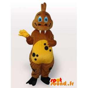 Mascot stegosaurus - Liten gul og brun dinosaur - Jurrassique