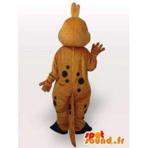 Mascot stegosaurus - Liten gul og brun dinosaur - Jurrassique - MASFR00237 - Dinosaur Mascot