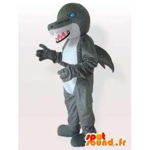 Maskotka paskudny dinozaur rekin szary i biały z niebieskimi oczami - MASFR00640 - dinozaur Mascot