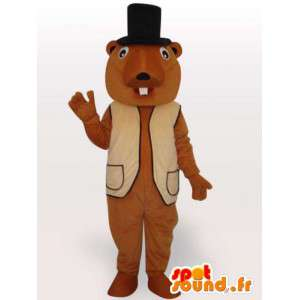 Beaver mascot suit and black hat accessories