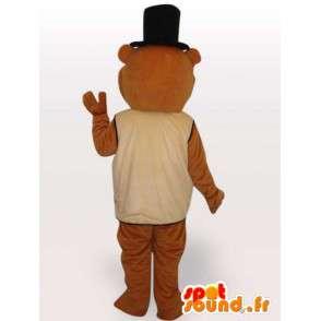 Beaver maskotti puku ja musta hattu tarvikkeet - MASFR00678 - Mascottes de castor