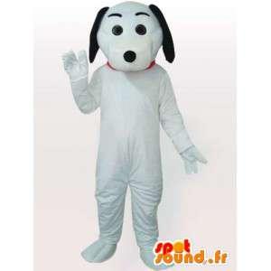 Mascotte de chien blanc et noir avec gants et chaussures blanches