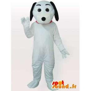 Mascotte de chien blanc et noir avec gants et chaussures blanches - MASFR00693 - Mascottes de chien