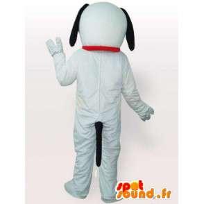 λευκό και μαύρο μασκότ σκυλιών με γάντια και λευκά παπούτσια - MASFR00693 - Μασκότ Dog