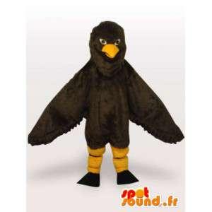 Mascotte aigle noir et jaune en plumes synthétiques - Costume