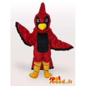 Aquila mascotte rosso e nero con cresta di gallo rosso farcito - MASFR00680 - Mascotte di galline pollo gallo
