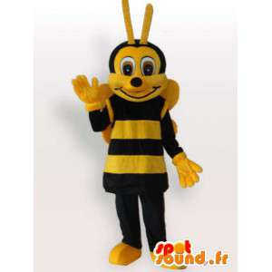 Mascotte abeille jaune et marron avec antenne - Apiculture