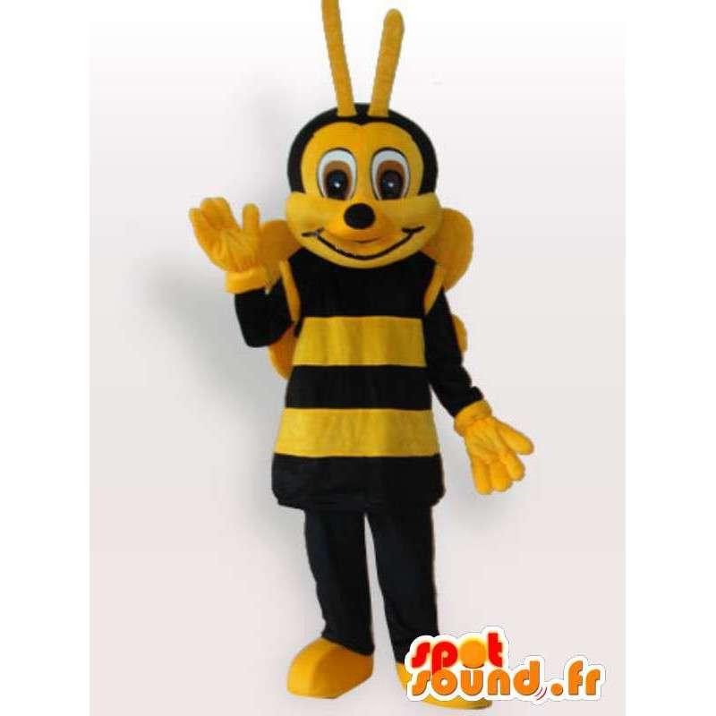 Mascotte gele en bruine bij met antenne - Bijenteelt - MASFR00792 - Bee Mascot