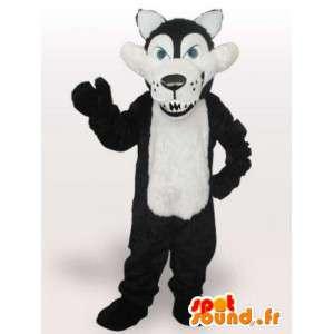 Maskot černobílý vlka s ostrými zuby - Vlk Kostým