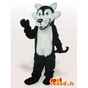 Mascot lobo blanco y negro con dientes afilados - Wolf vestuario - MASFR00669 - Mascotas lobo